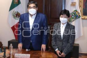 REUNIÓN . MIGUEL BARBOSA Y LILIA CEDILLO
